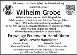 Nachruf Wilhelm Grobe